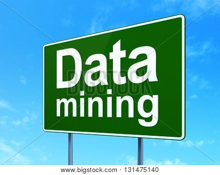 Data concept: Data Mining on green road highway sign, clear blue sky background, 3D rendering