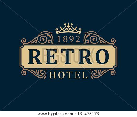 Retro Hotel. Luxury Logo template calligraphic ornament lines. Business sign identity for Restaurant Royalty Boutique Cafe Hotel Heraldic Jewelry Fashion and other vector illustration.