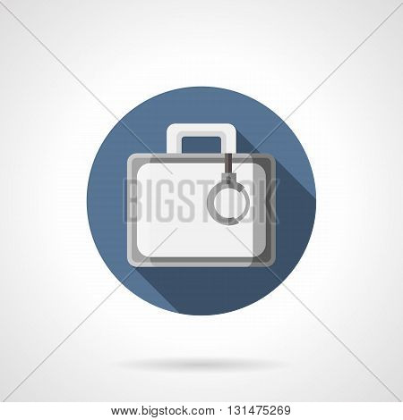 Gray case with handcuff, long shadow design. Protection of secret baggage, carriage of money and secret documents. Dangerous mission agent accessories. Round flat color style vector icon.