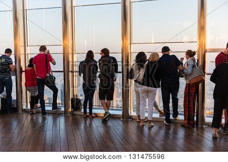 People At The Observation Deck Of Burj Al Khalifa
