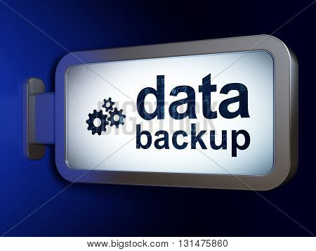 Data concept: Data Backup and Gears on advertising billboard background, 3D rendering