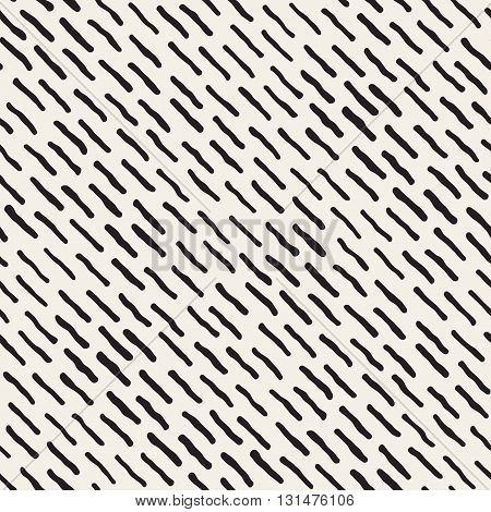 Vector Seamless Black And White Jumble Hand Drawn Diagonal Lines Pattern Abstract Background