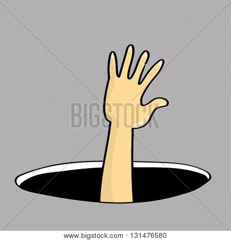 Hand and arm of a person reaching out of or falling into a dark hole in the ground