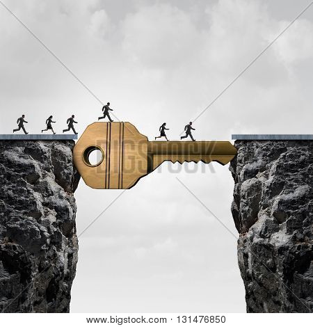 Success key concept as a group of people running across two cliffs with a giant golden brass security object acting as a bridge to reach opportunity with 3D illustration elements.