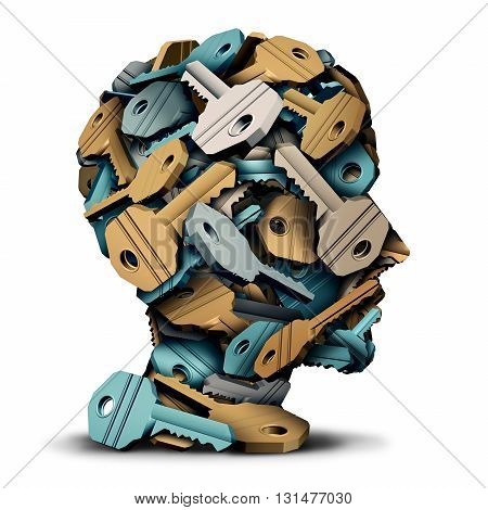Key head concept as a group of 3D illustration keys grouped together in the shape of a human face as a security solution and intelligence metaphor.