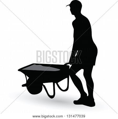 construction worker silhouette carries a wheelbarrow vector