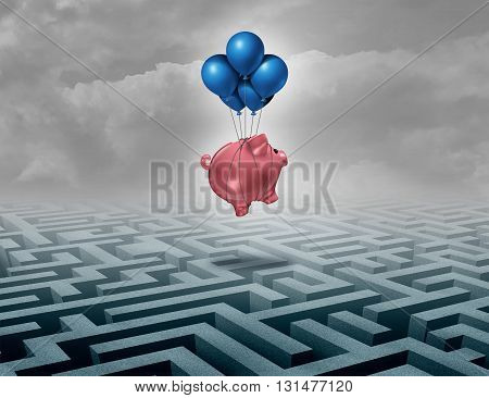 Financial savings support concept as a finance leadership solution with a piggybank or piggy bank flying above a maze as a business motivation metaphor of innovative thinking for money success as a 3D illustration.