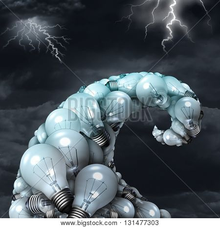 Creative storm concept as a poerful creativity symbol as a group of light bulbs shaped as a water wave undertow with lightning bolts as an inspiration metaphor and brainstorm icon with 3D illustration elements.