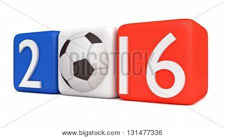 Soccer in France 2016 Tricolor cubes with football, 3d illustration
