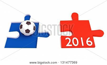 Soccer in France 2016 Tricolor puzzle with football, 3d illustration