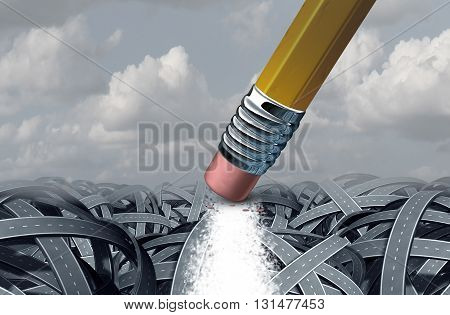 Concept of business solution as a path that has been erased by a giant pencil eraser through a confused group of tangled roads as a motivation metaphor for success with 3D illustration elements.