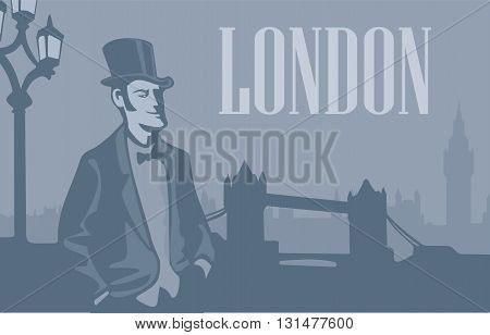 London gentleman in hat on the London Street. London skyline with Big Ben and Tower Bridge