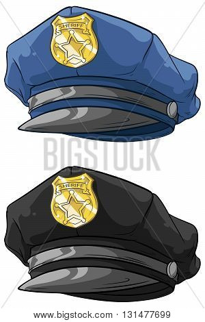 A vector illustration of cartoon police hat with golden badge set