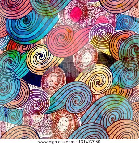 Retro Bright watercolor background with different abstract elements