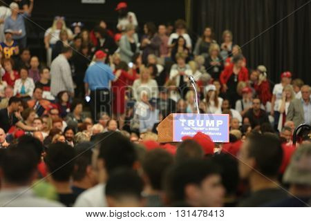 ANAHEIM CALIFORNIA, May 25, 2016: Thousands of Supporters, wave signs and show their support for Presidential Candidate Donald J. Trump at the Anaheim Convention Center rally on.  5.25.2016