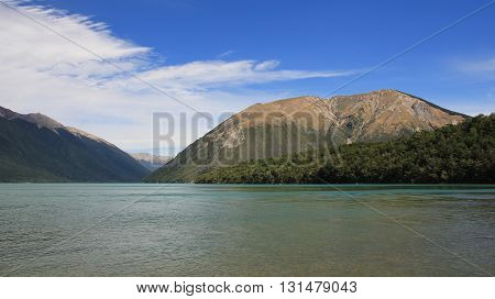 Summer scene on the South Island New Zealand. Lake Rotoiti and Mt Robert.