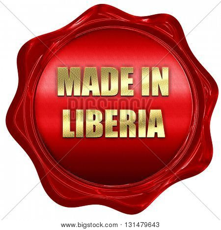Made in liberia, 3D rendering, a red wax seal