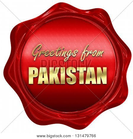 Greetings from pakistan, 3D rendering, a red wax seal