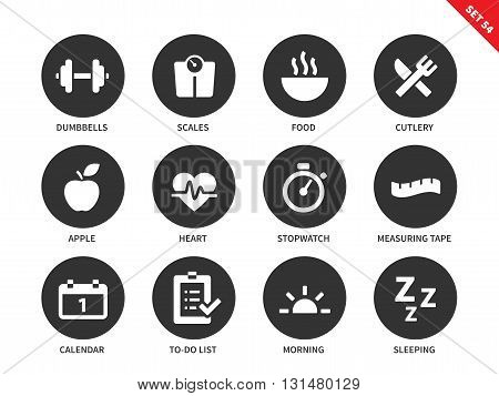 Fitness vector icons set. Sport and exercising consept. Healthy lifestyle items, dumbbells, food, apple, heart, calendar, sleeping, scales, measuring tape. Isolated on white background