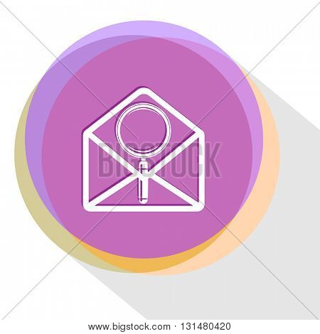 mail with magnifying glass. Internet template. Vector icon.