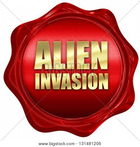 alien invasion, 3D rendering, a red wax seal