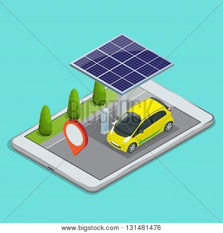 Mobile GPS navigation, electric car charging concept. View a map on the mobile phone on car and search GPS coordinates. Flat 3d vector isometric illustration