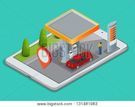 Mobile GPS navigation, gas station concept. View a map on the mobile phone on car and search GPS coordinates. Flat 3d vector isometric illustration