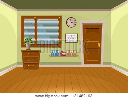 Cartoon Flat Vector Interior Office Room In Lime Style. Vector Illustration