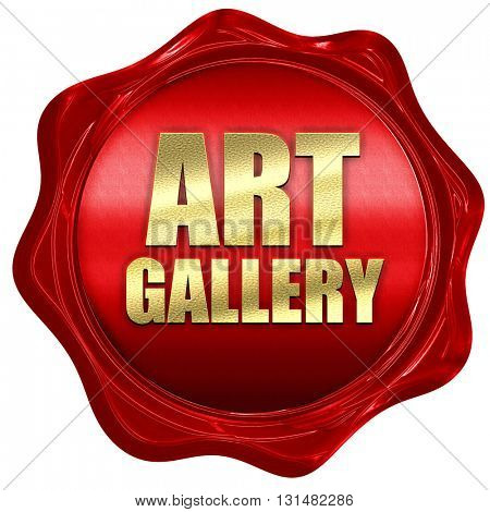 art gallery, 3D rendering, a red wax seal
