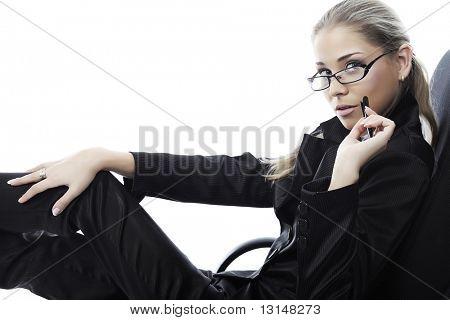 Mulher de negócios sobre fundo branco