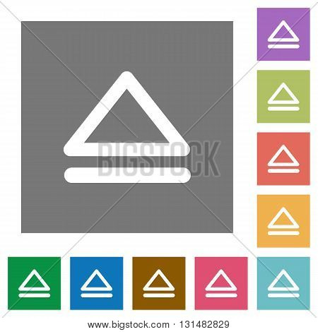 Media eject flat icon set on color square background.