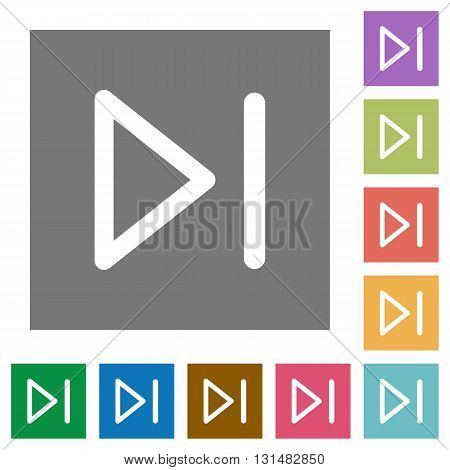 Media next flat icon set on color square background.
