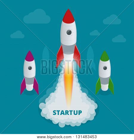 Startup flat 3d isometric style technology business concept web infographics vector illustration. Team working on spaceship launch start up and big word. Creative people collection.