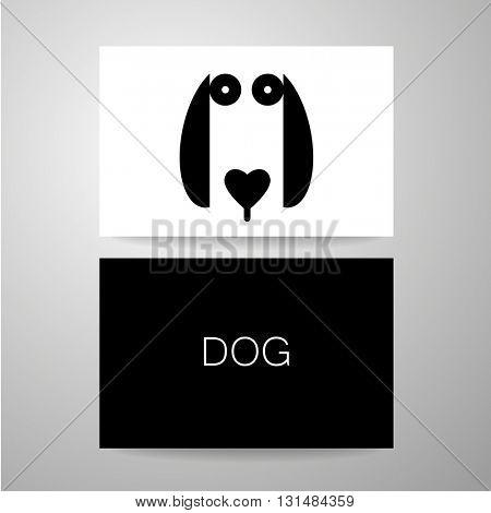 Dog sign. Dog card design template. Dog illustration idea for logo, emblem, symbol, icon.