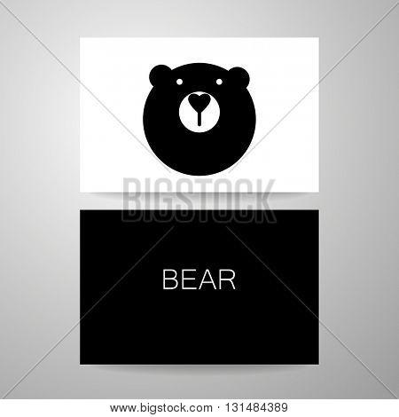 Bear logo. Identity card template. Bear mascot idea for logo, emblem, symbol, icon.