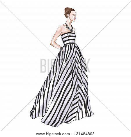 watercolor illustration of fashion model wearing striped long dress
