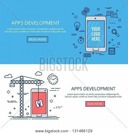 Thin line flat design mobile development. Vector banner set