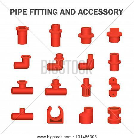 Vector of pipe fitting and accessory isolated on white.
