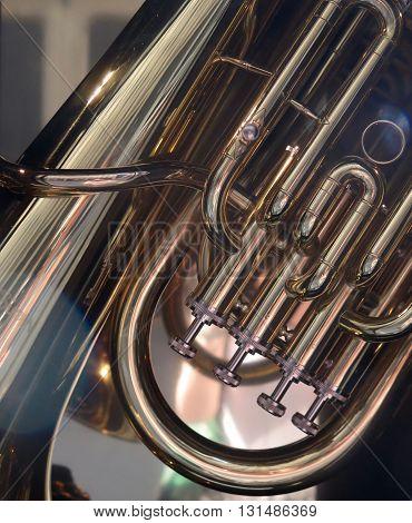 Brass Band: Closeup Detail of Shining Tuba