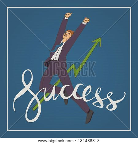 Vector illustration with man jumping up and happy with handwriting lettering word success