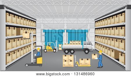 Forklift working with cargo and truck inside warehouse.