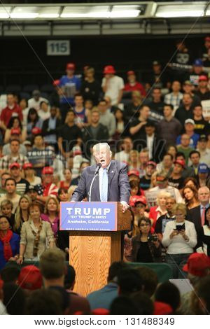 ANAHEIM CALIFORNIA, May 25, 2016: Presidential Candidate Donald J. Trump speaks to a crowd of 8000 plus fans and supporters at the Anaheim Convention Center rally on.  5.25.2016