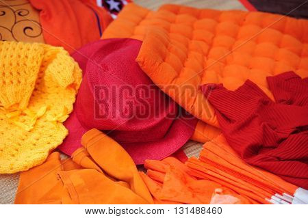 Abstract display of the orange yellow and red clothing