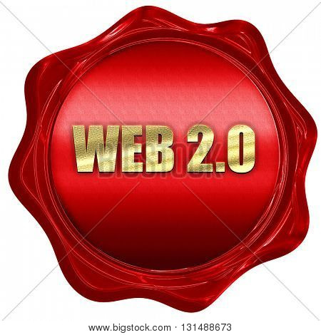 web 2.0, 3D rendering, a red wax seal