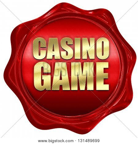 casino game, 3D rendering, a red wax seal