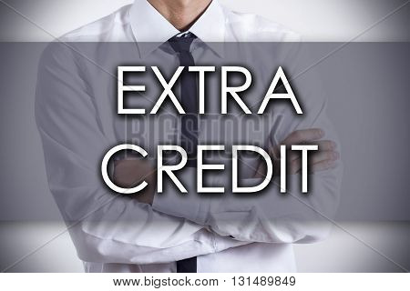 Extra Credit - Young Businessman With Text - Business Concept