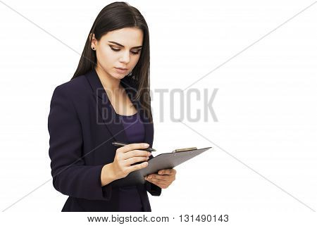 Happy young woman holding tablet and planing something, isolated on white background