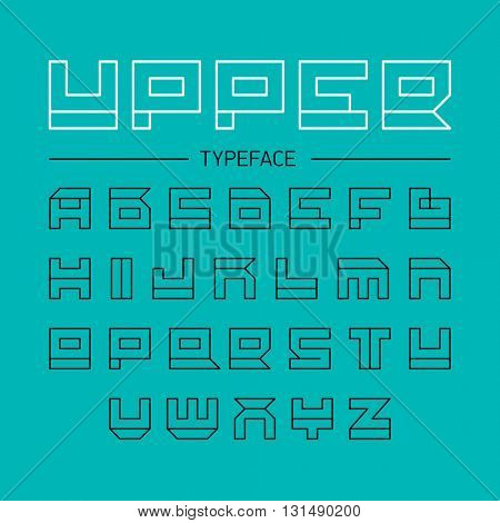 Upper typeface, geometrical linear outline font. Vector illustration.