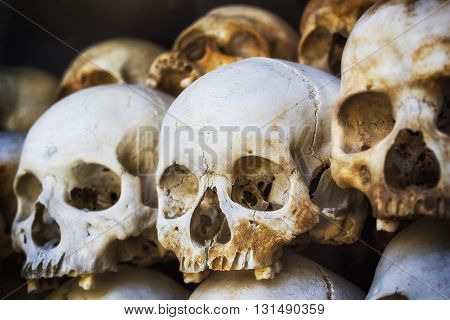 Human skulls of victims of the Khmer Rouge stacked at the Killing Fields of Choeung Ek memorial, Phnom Penh, Cambodia.