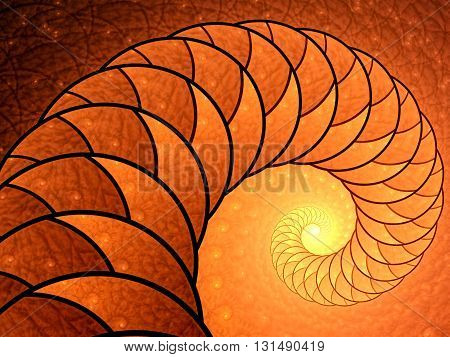 Abstract fractal background - computer-generated image. Fractal artwork - spiral or shell with beautiful texture of repeating images. For banners, posters, prints, web design